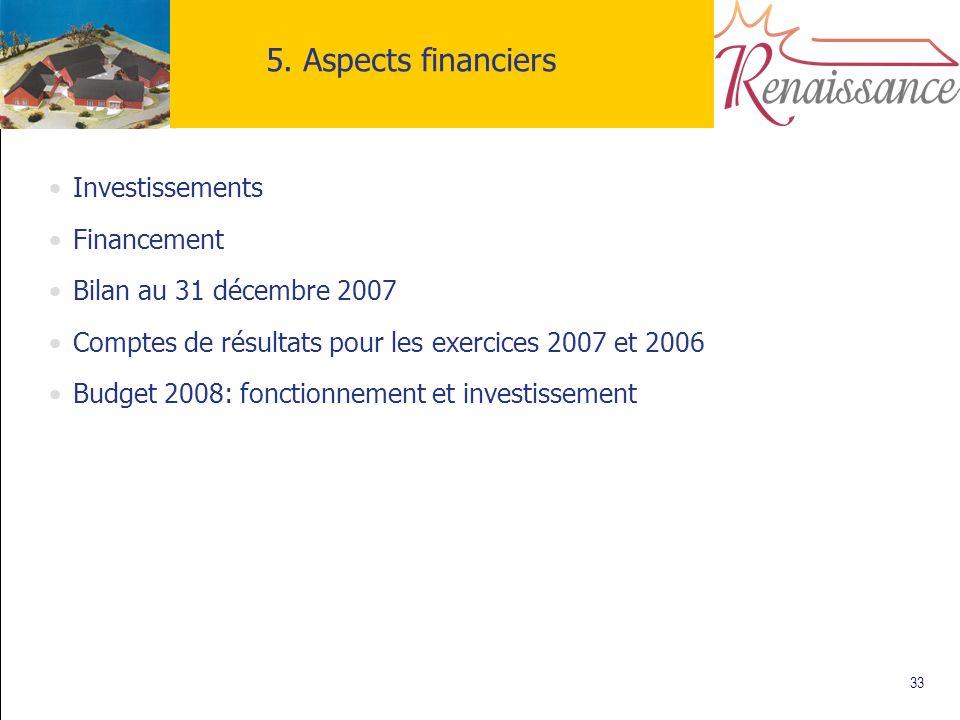 33 5. Aspects financiers Investissements Financement Bilan au 31 décembre 2007 Comptes de résultats pour les exercices 2007 et 2006 Budget 2008: fonct