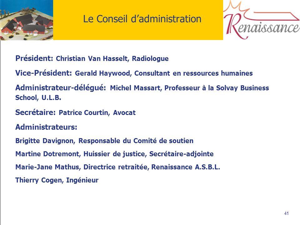 41 Le Conseil dadministration Président: Christian Van Hasselt, Radiologue Vice-Président: Gerald Haywood, Consultant en ressources humaines Administr