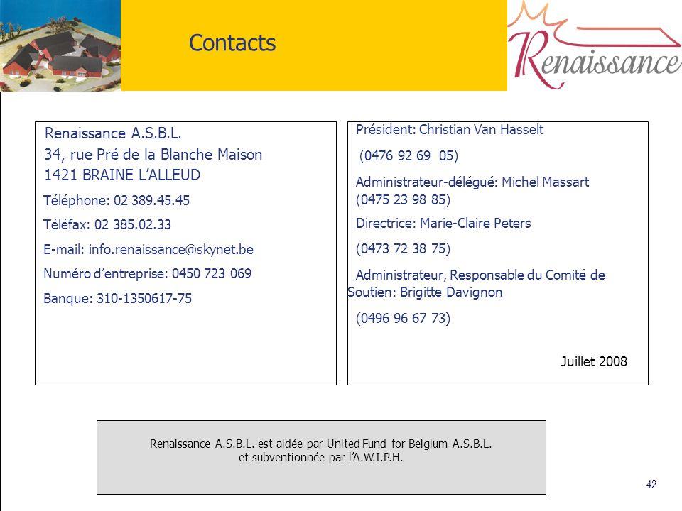 42 Contacts Renaissance A.S.B.L. 34, rue Pré de la Blanche Maison 1421 BRAINE LALLEUD Téléphone: 02 389.45.45 Téléfax: 02 385.02.33 E-mail: info.renai