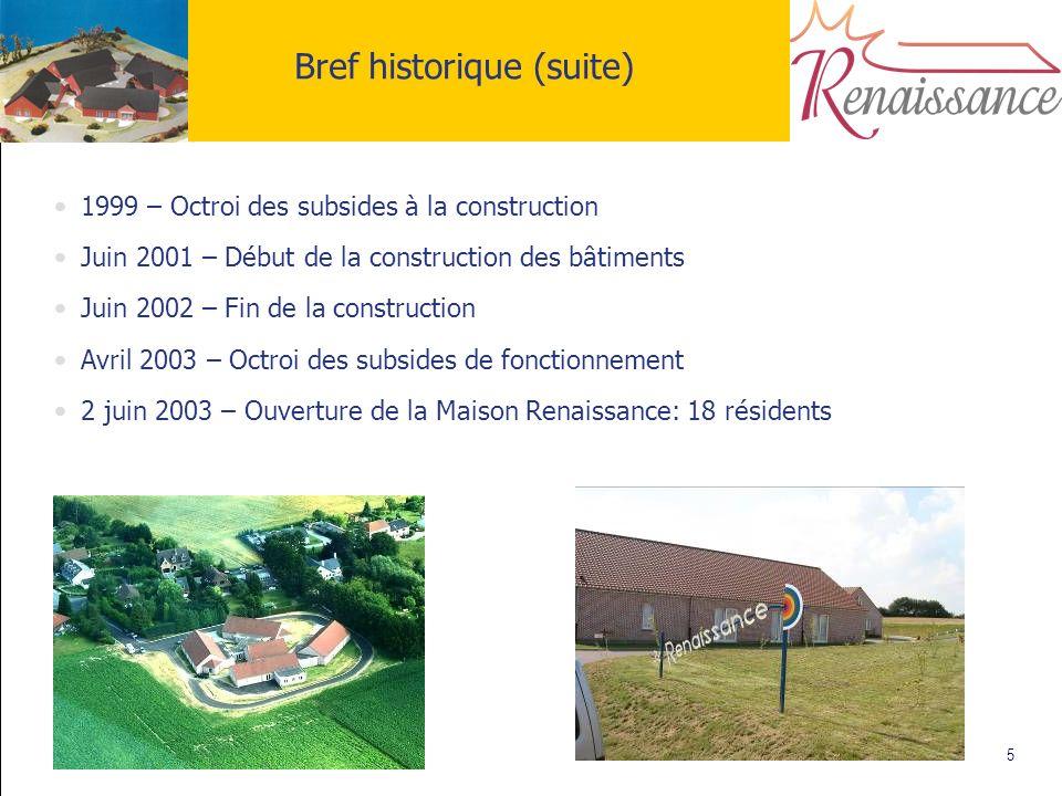 5 Bref historique (suite) 1999 – Octroi des subsides à la construction Juin 2001 – Début de la construction des bâtiments Juin 2002 – Fin de la constr