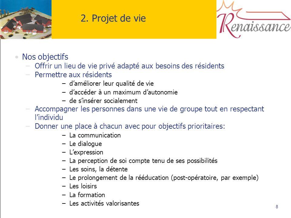 8 2. Projet de vie Nos objectifs –Offrir un lieu de vie privé adapté aux besoins des résidents –Permettre aux résidents –daméliorer leur qualité de vi