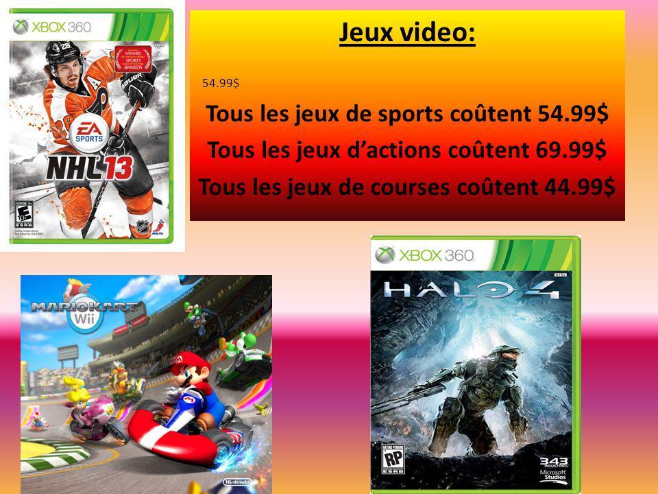 Jeux video: Tous les jeux de sports coûtent 54.99$ Tous les jeux dactions coûtent 69.99$ Tous les jeux de courses coûtent 44.99$ 54.99$