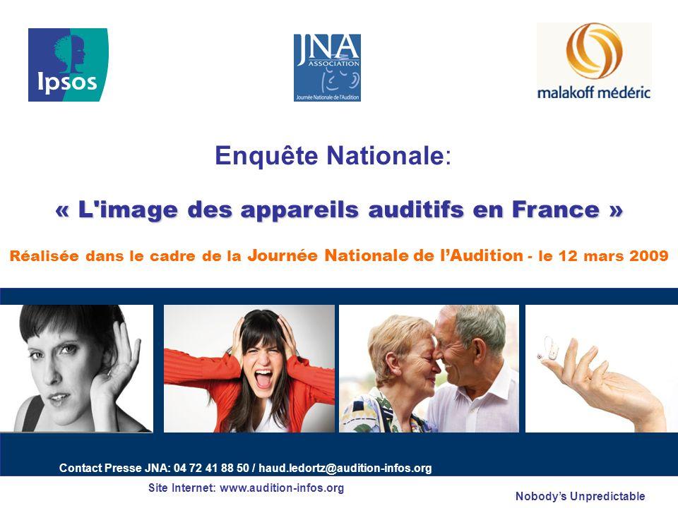 Nobodys Unpredictable « L'image des appareils auditifs en France » « L'image des appareils auditifs en France » Réalisée dans le cadre de la Journée N