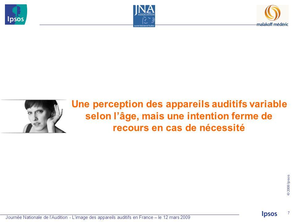 Journée Nationale de lAudition - L'image des appareils auditifs en France – le 12 mars 2009 © 2008 Ipsos 7 Une perception des appareils auditifs varia