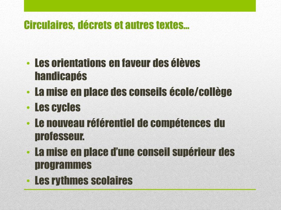 Les orientations en faveur des élèves handicapés La mise en place des conseils école/collège Les cycles Le nouveau référentiel de compétences du professeur.