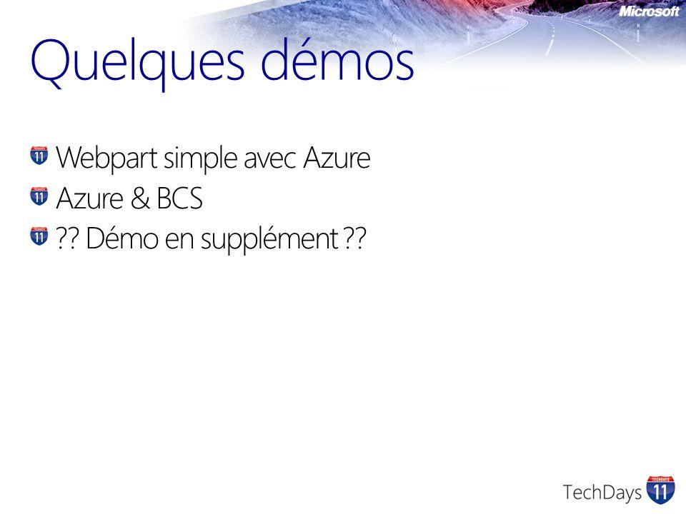 Quelques démos Webpart simple avec Azure Azure & BCS Démo en supplément
