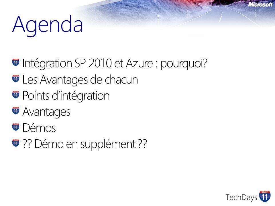 Agenda Intégration SP 2010 et Azure : pourquoi.