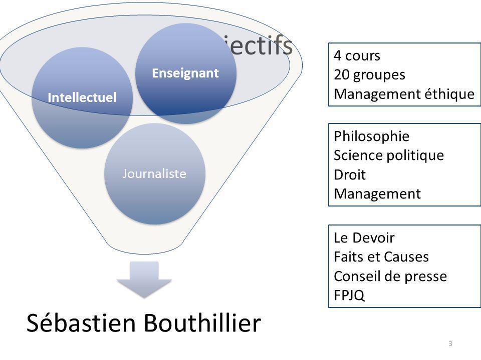 Objectifs Sébastien Bouthillier JournalisteIntellectuelEnseignant 4 cours 20 groupes Management éthique Philosophie Science politique Droit Management Le Devoir Faits et Causes Conseil de presse FPJQ 3