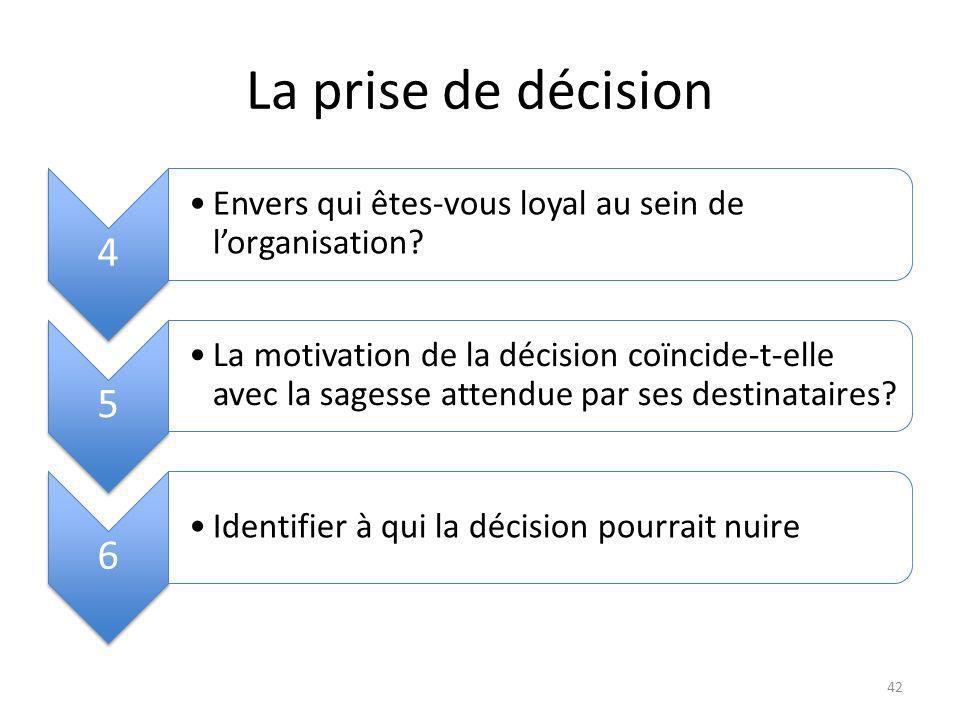 La prise de décision 4 Envers qui êtes-vous loyal au sein de lorganisation.