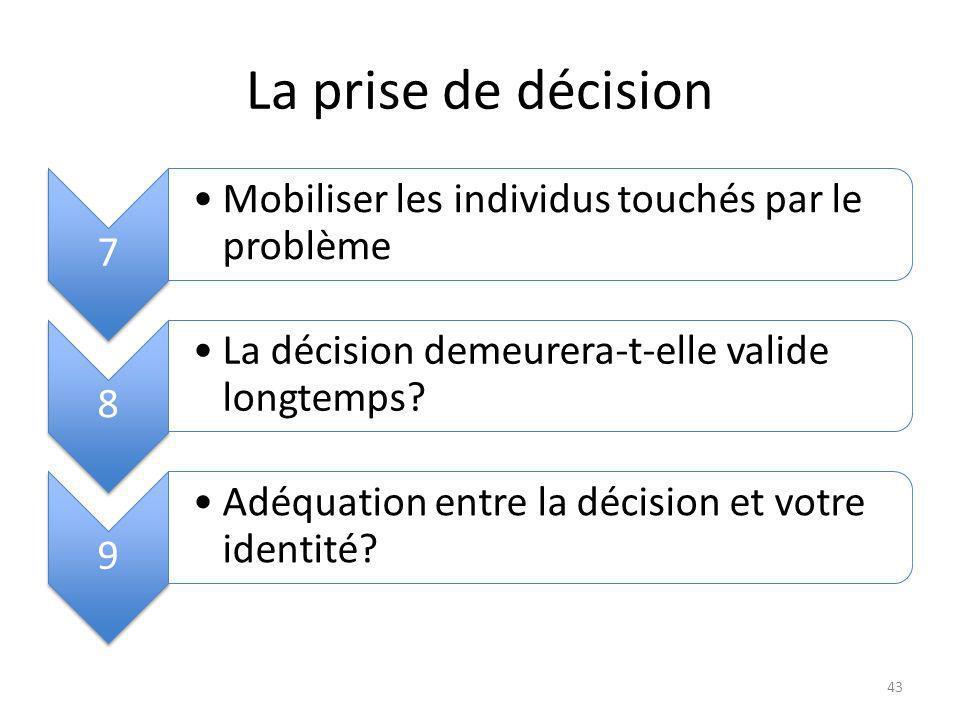 La prise de décision 7 Mobiliser les individus touchés par le problème 8 La décision demeurera-t-elle valide longtemps.