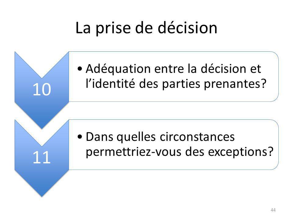 La prise de décision 10 Adéquation entre la décision et lidentité des parties prenantes.