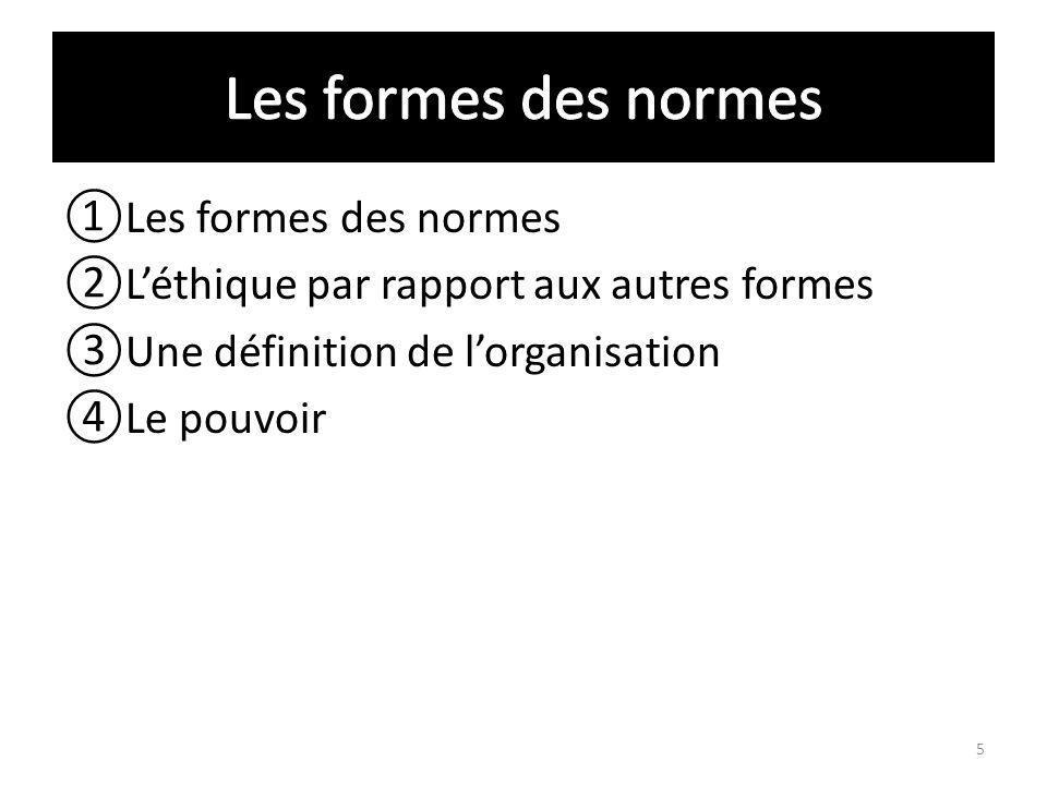 Les formes des normes Léthique par rapport aux autres formes Une définition de lorganisation Le pouvoir 5