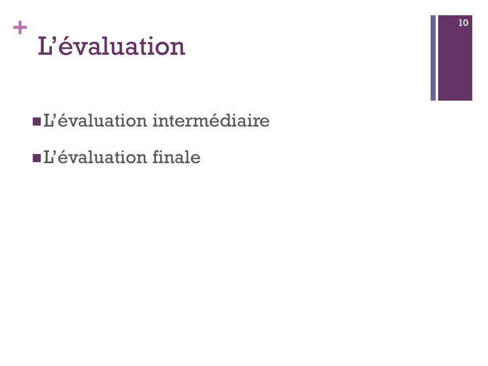 + Lévaluation Lévaluation intermédiaire Lévaluation finale 10