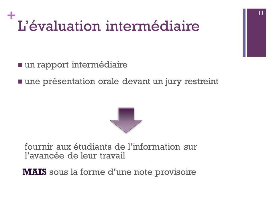 + Lévaluation intermédiaire un rapport intermédiaire une présentation orale devant un jury restreint fournir aux étudiants de linformation sur lavancée de leur travail MAIS sous la forme dune note provisoire 11