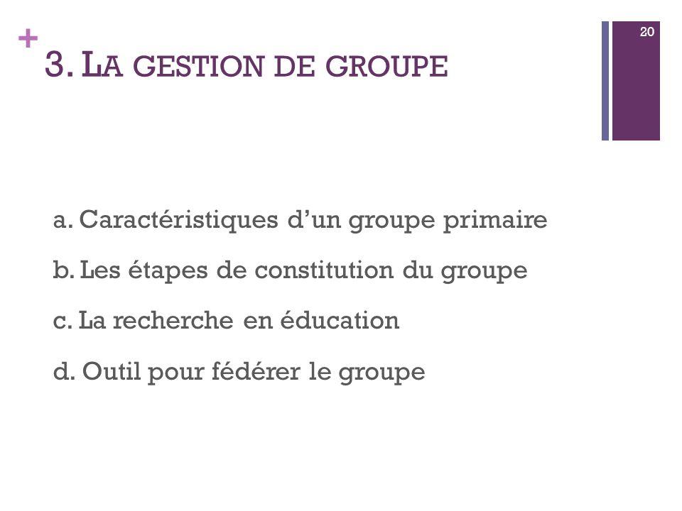 + 3. L A GESTION DE GROUPE a. Caractéristiques dun groupe primaire b.