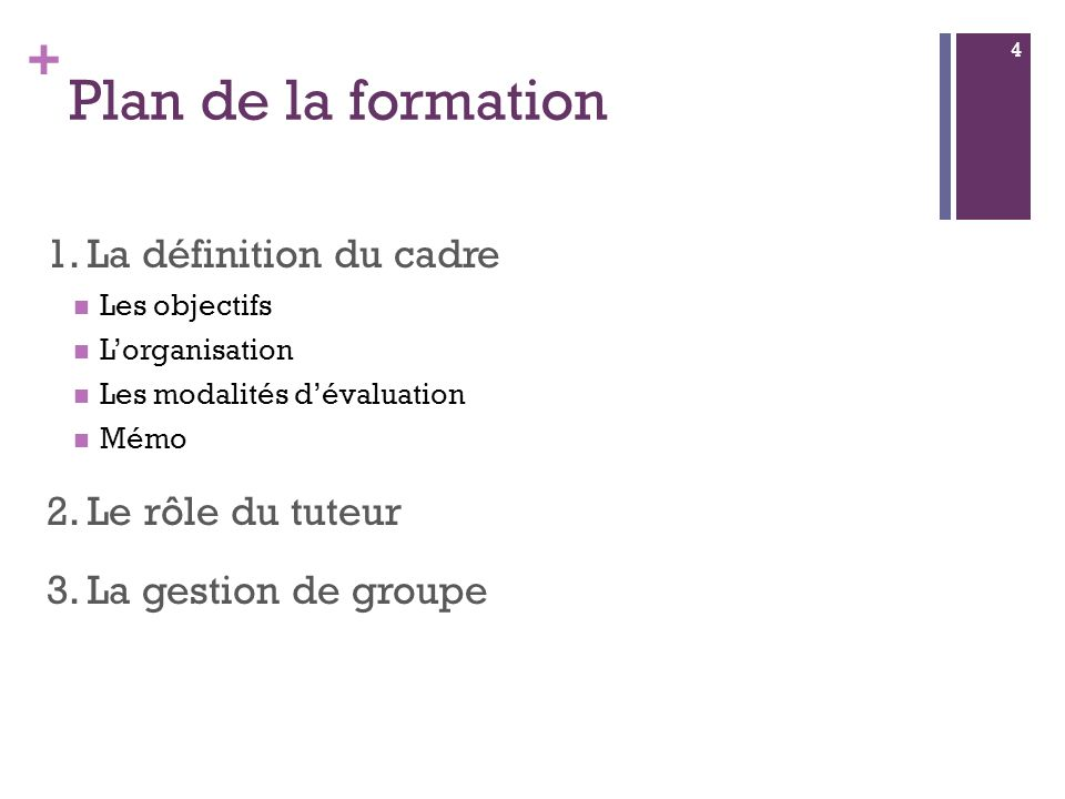 + Plan de la formation 1.