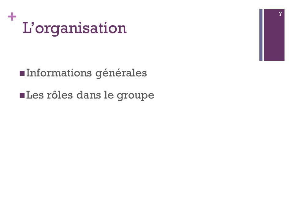 + Lorganisation Informations générales Les rôles dans le groupe 7