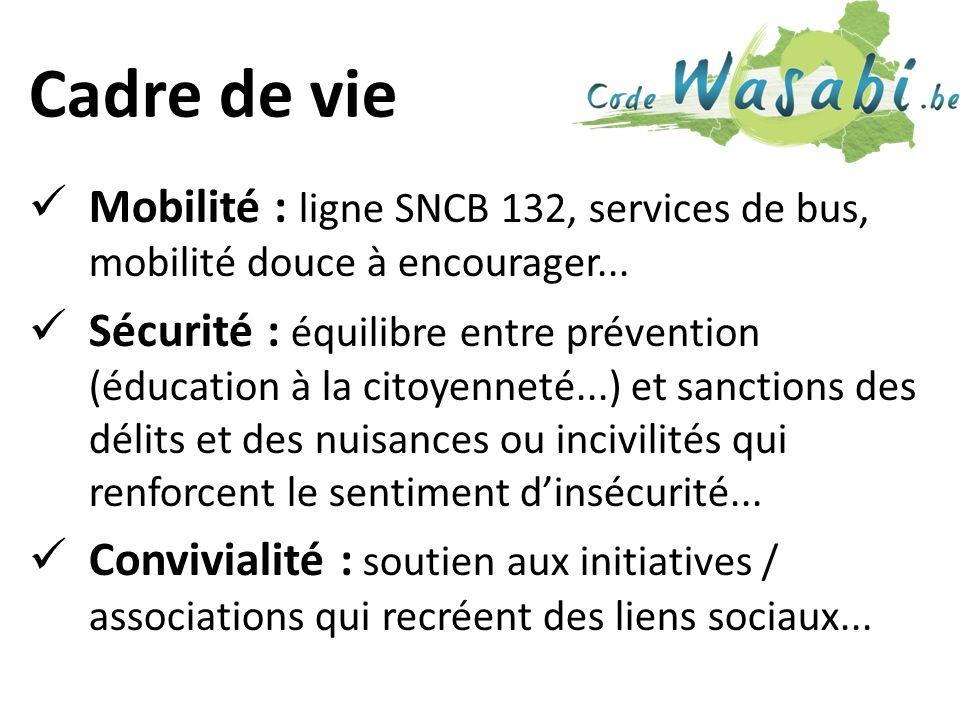 Cadre de vie Mobilité : ligne SNCB 132, services de bus, mobilité douce à encourager...