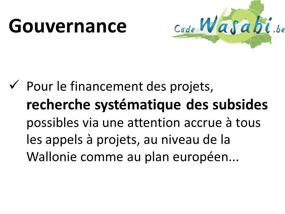 Gouvernance Pour le financement des projets, recherche systématique des subsides possibles via une attention accrue à tous les appels à projets, au niveau de la Wallonie comme au plan européen...
