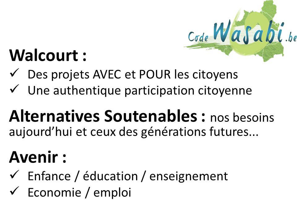 Walcourt : Des projets AVEC et POUR les citoyens Une authentique participation citoyenne Alternatives Soutenables : nos besoins aujourdhui et ceux des générations futures...