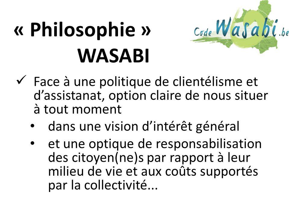 « Philosophie » WASABI Face à une politique de clientélisme et dassistanat, option claire de nous situer à tout moment dans une vision dintérêt général et une optique de responsabilisation des citoyen(ne)s par rapport à leur milieu de vie et aux coûts supportés par la collectivité...