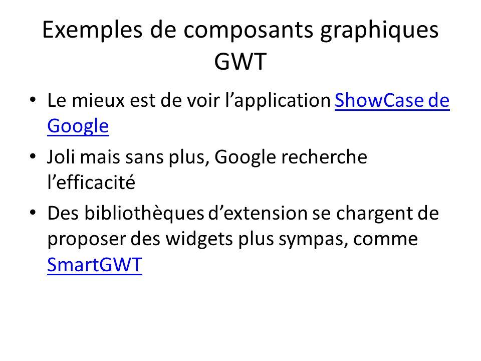 Exemples de composants graphiques GWT Le mieux est de voir lapplication ShowCase de GoogleShowCase de Google Joli mais sans plus, Google recherche lefficacité Des bibliothèques dextension se chargent de proposer des widgets plus sympas, comme SmartGWT SmartGWT