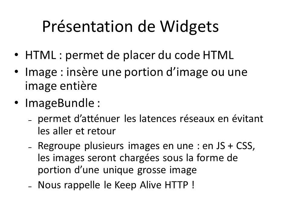 HTML : permet de placer du code HTML Image : insère une portion dimage ou une image entière ImageBundle : – permet datténuer les latences réseaux en évitant les aller et retour – Regroupe plusieurs images en une : en JS + CSS, les images seront chargées sous la forme de portion dune unique grosse image – Nous rappelle le Keep Alive HTTP .