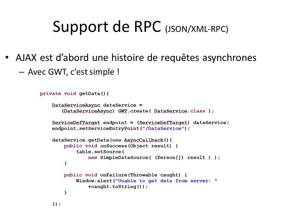 Support de RPC (JSON/XML-RPC) AJAX est dabord une histoire de requêtes asynchrones – Avec GWT, cest simple !