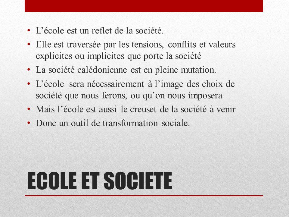ECOLE ET SOCIETE Lécole est un reflet de la société.