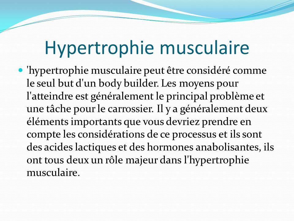 Hypertrophie musculaire 'hypertrophie musculaire peut être considéré comme le seul but d'un body builder. Les moyens pour l'atteindre est généralement
