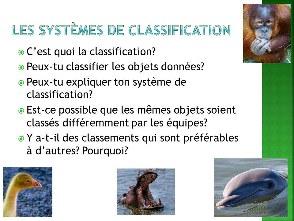 Cest quoi la classification? Peux-tu classifier les objets données? Peux-tu expliquer ton système de classification? Est-ce possible que les mêmes obj