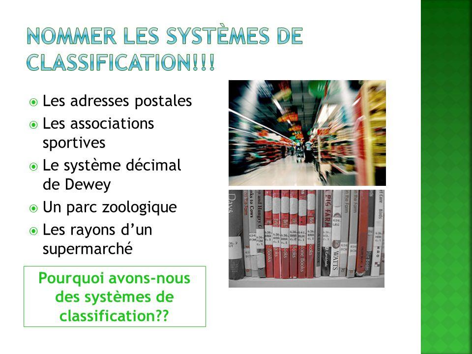 Pourquoi avons-nous des systèmes de classification?? Les adresses postales Les associations sportives Le système décimal de Dewey Un parc zoologique L