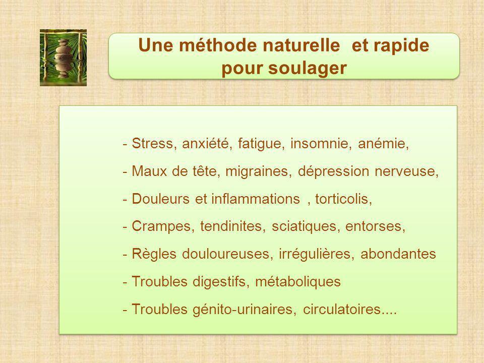 - Stress, anxiété, fatigue, insomnie, anémie, - Maux de tête, migraines, dépression nerveuse, - Douleurs et inflammations, torticolis, - Crampes, tendinites, sciatiques, entorses, - Règles douloureuses, irrégulières, abondantes - Troubles digestifs, métaboliques - Troubles génito-urinaires, circulatoires....