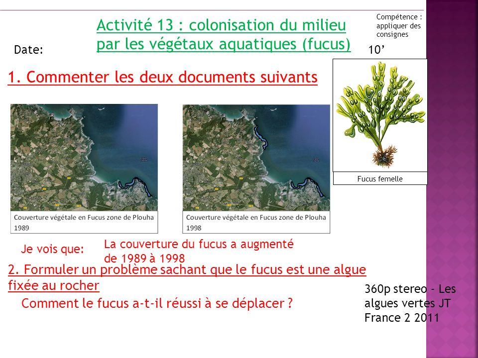 Activité 13 : colonisation du milieu par les végétaux aquatiques (fucus) Date: 2. Formuler un problème sachant que le fucus est une algue fixée au roc