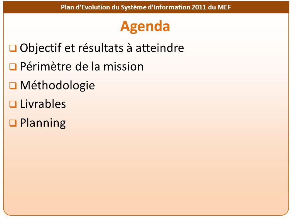 Plan dEvolution du Système dInformation 2011 du MEF Agenda Objectif et résultats à atteindre Périmètre de la mission Méthodologie Livrables Planning