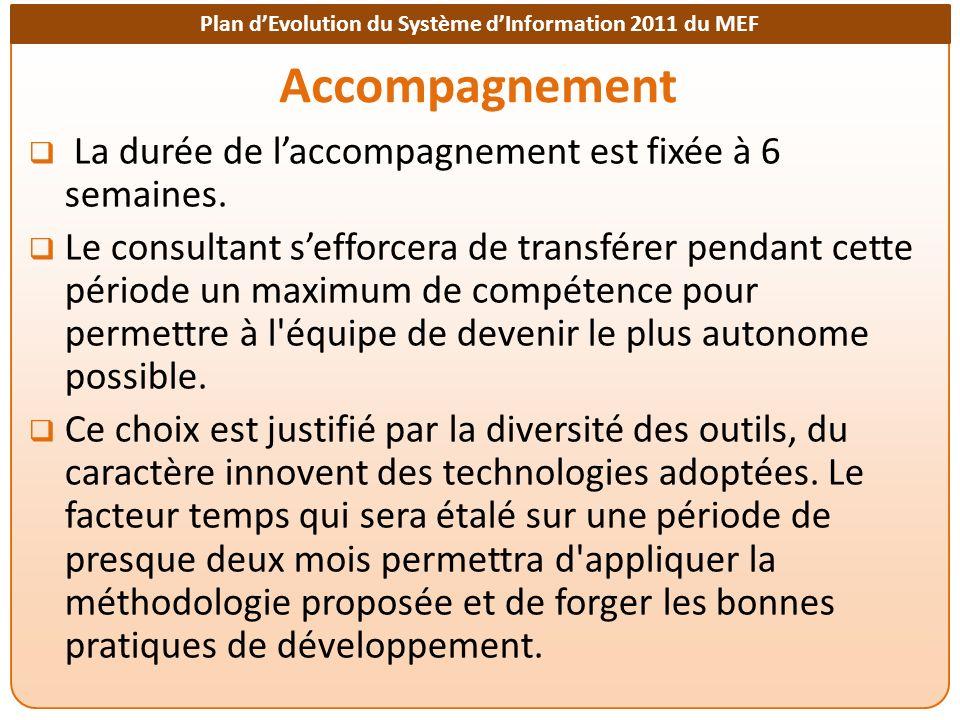 Plan dEvolution du Système dInformation 2011 du MEF Accompagnement La durée de laccompagnement est fixée à 6 semaines.