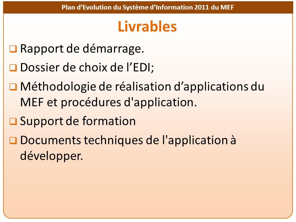 Plan dEvolution du Système dInformation 2011 du MEF Livrables Rapport de démarrage.