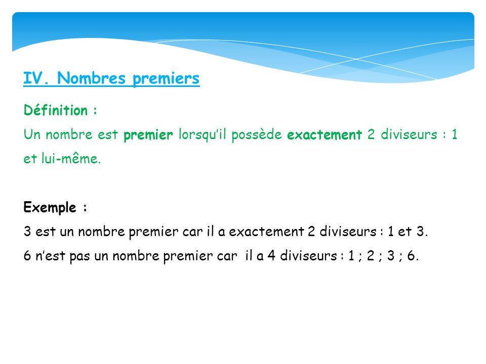 IV. Nombres premiers Définition : Un nombre est premier lorsquil possède exactement 2 diviseurs : 1 et lui-même. Exemple : 3 est un nombre premier car