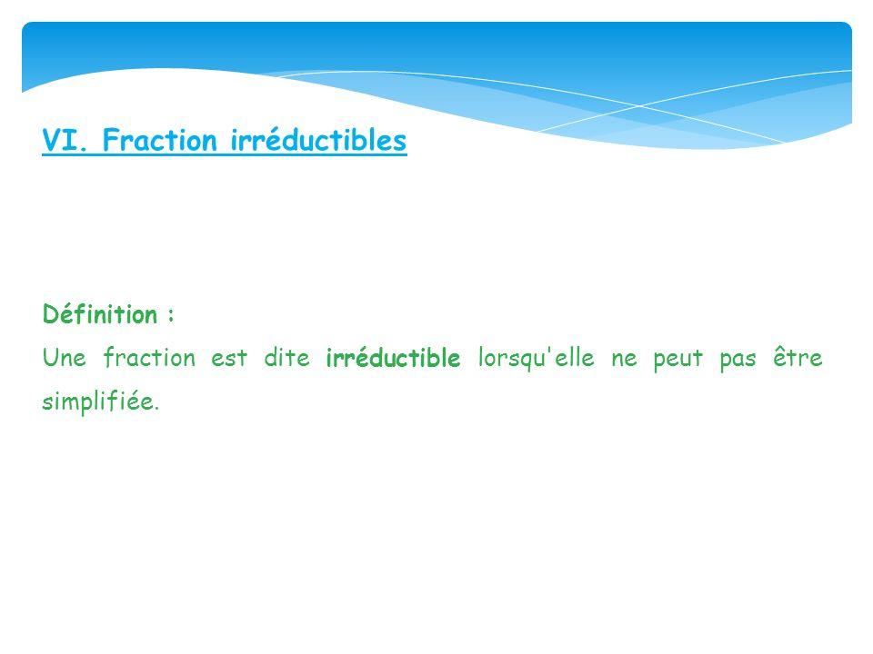 VI. Fraction irréductibles Définition : Une fraction est dite irréductible lorsqu'elle ne peut pas être simplifiée.