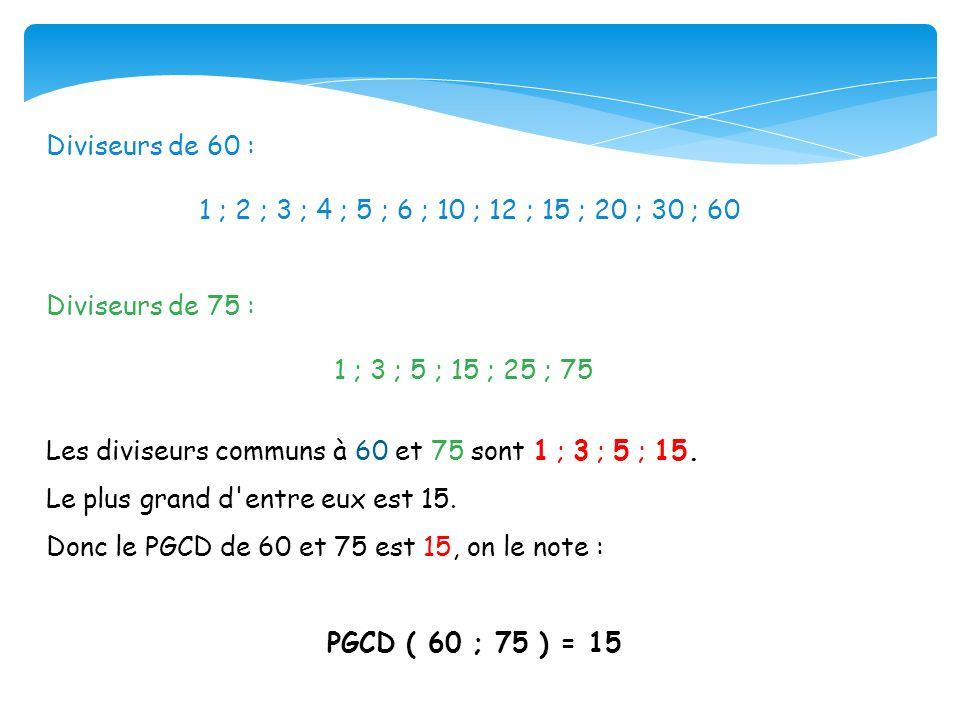 Diviseurs de 60 : 1 ; 2 ; 3 ; 4 ; 5 ; 6 ; 10 ; 12 ; 15 ; 20 ; 30 ; 60 Diviseurs de 75 : 1 ; 3 ; 5 ; 15 ; 25 ; 75 Les diviseurs communs à 60 et 75 sont