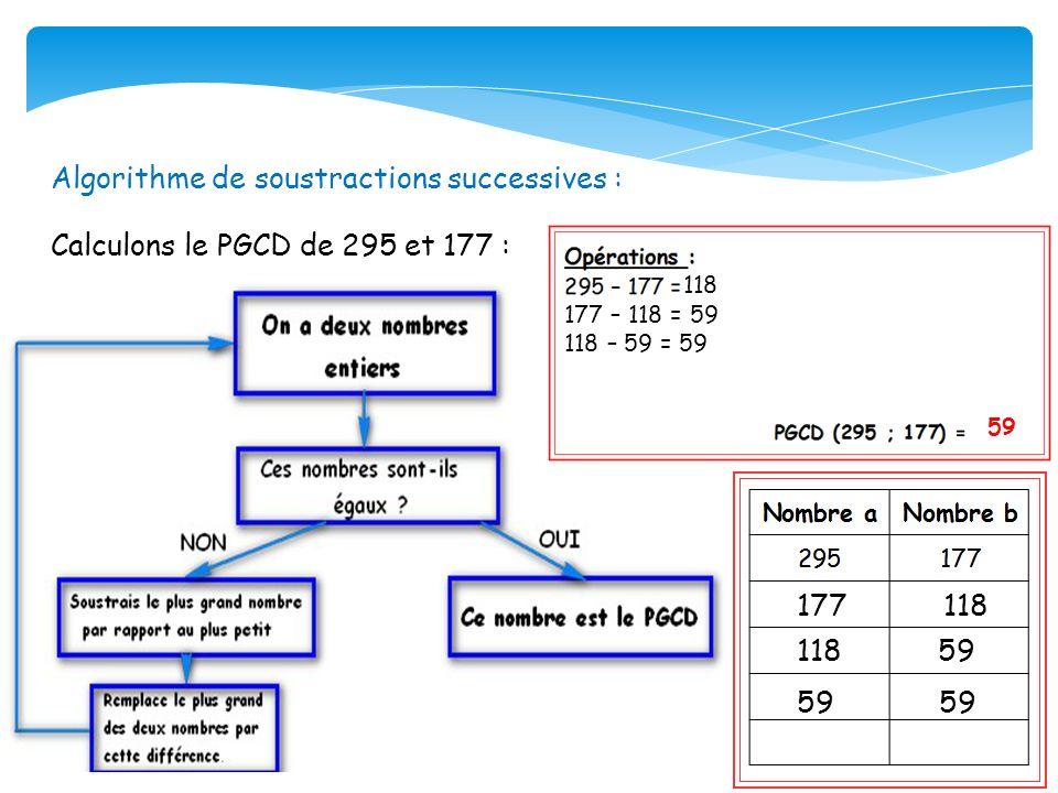 Algorithme de soustractions successives : Calculons le PGCD de 295 et 177 : 118 177 – 118 = 59 118 – 59 = 59 59 177 118 118 59 59 59