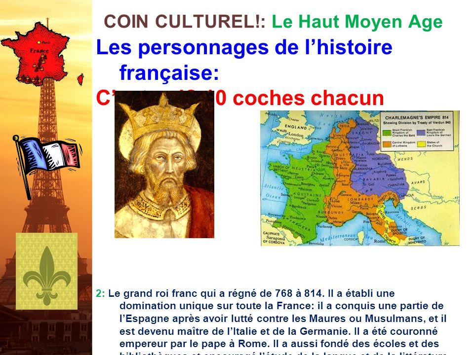 Les personnages de lhistoire française: Cest qui? 10 coches chacun 1: Le premier roi franc à devenir chrétien en 496. Il a réussi à réunir toute la Ga