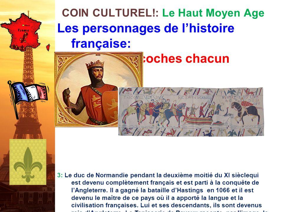 Les personnages de lhistoire française: Cest qui? 10 coches chacun 2: Le grand roi franc qui a régné de 768 à 814. Il a établi une domination unique s