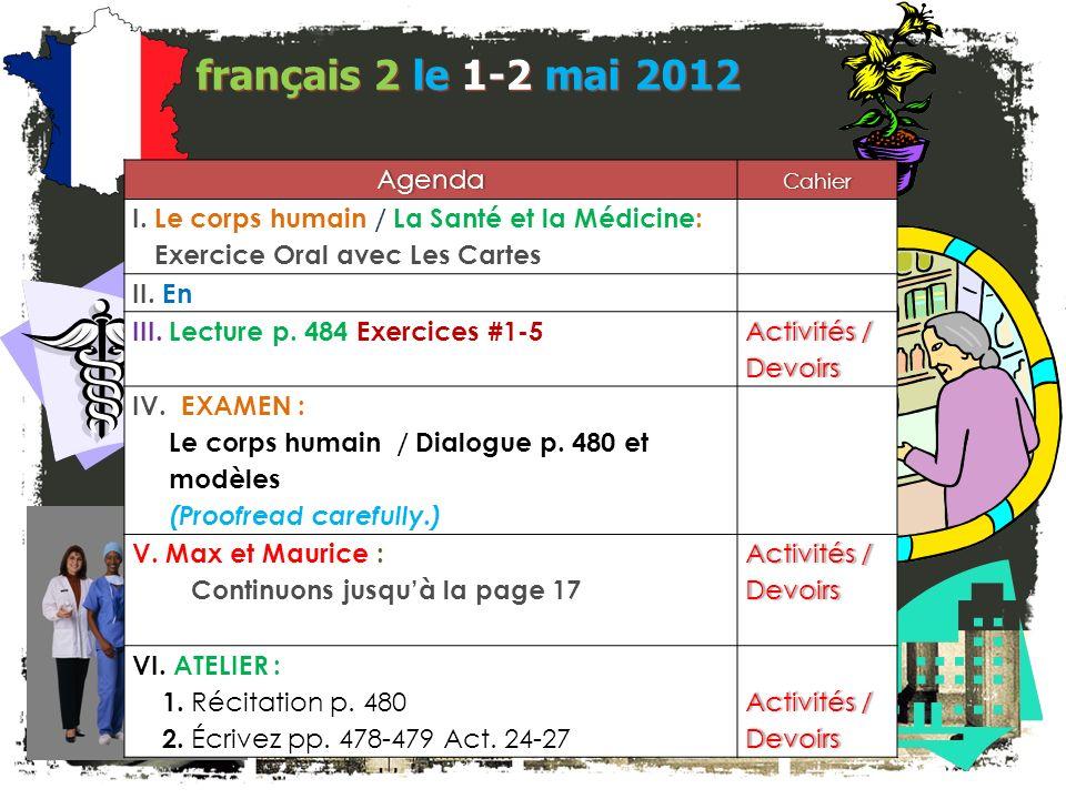 français 5H le 1-2 mai 2012 ActivitéClasseur COIN CULTUREL : Les personnages de la France CHANSON : « Juste Un Instant » M.