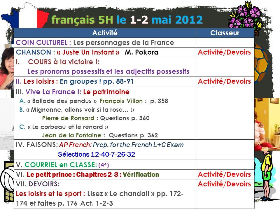 Course pour la victoire! français 5H/6AP Les adjectifs et les pronoms possessifs I.Les Cartes de Révision II. Les pronoms et les adjectifs possessifs:
