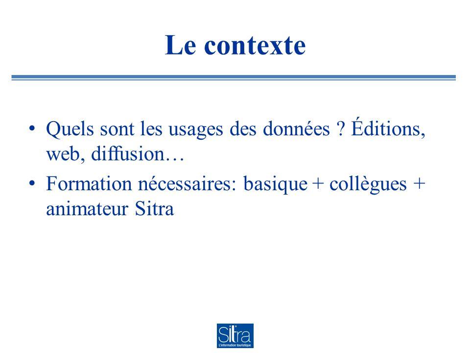 Le contexte Quels sont les usages des données ? Éditions, web, diffusion… Formation nécessaires: basique + collègues + animateur Sitra