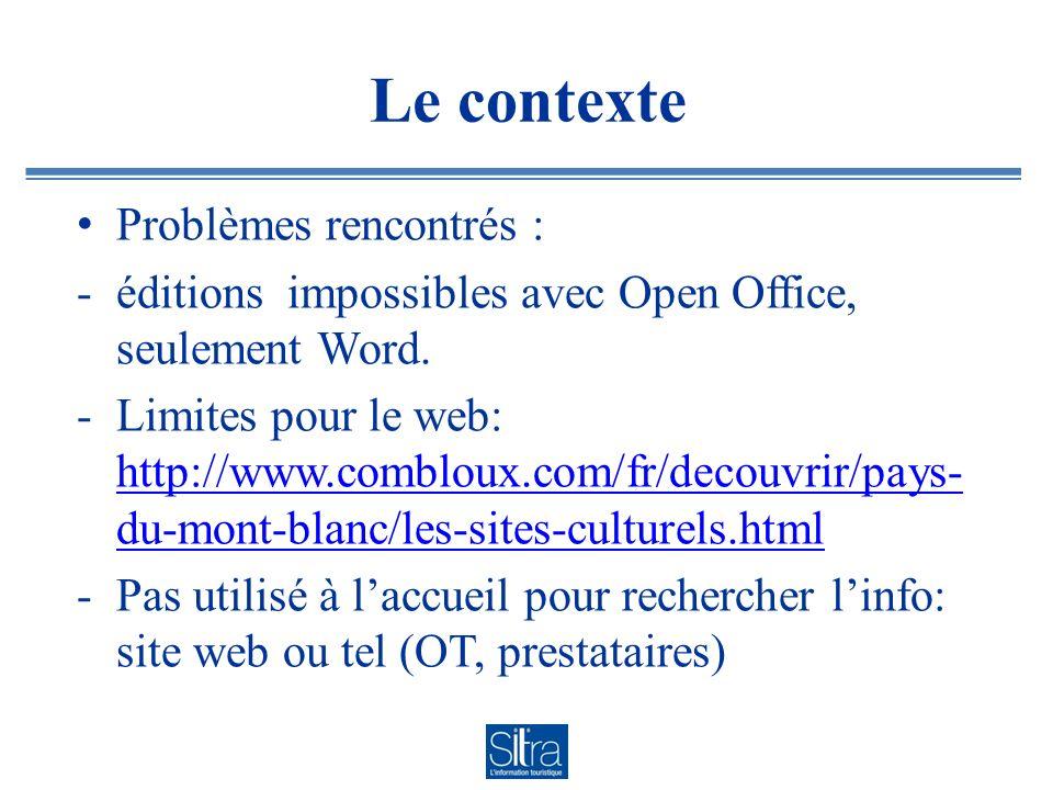 Le contexte Problèmes rencontrés : -éditions impossibles avec Open Office, seulement Word. -Limites pour le web: http://www.combloux.com/fr/decouvrir/