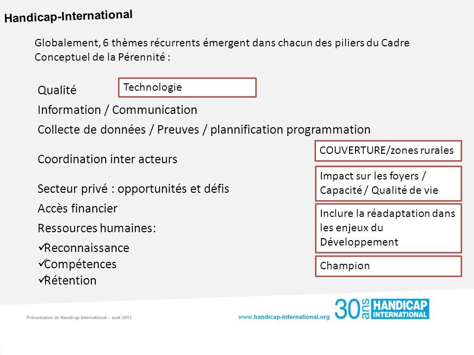 Handicap-International Globalement, 6 thèmes récurrents émergent dans chacun des piliers du Cadre Conceptuel de la Pérennité : Qualité Information / C