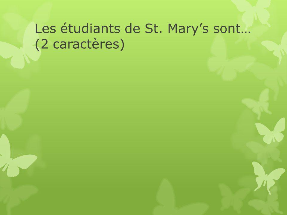 Les étudiants de St. Marys sont… (2 caractères)