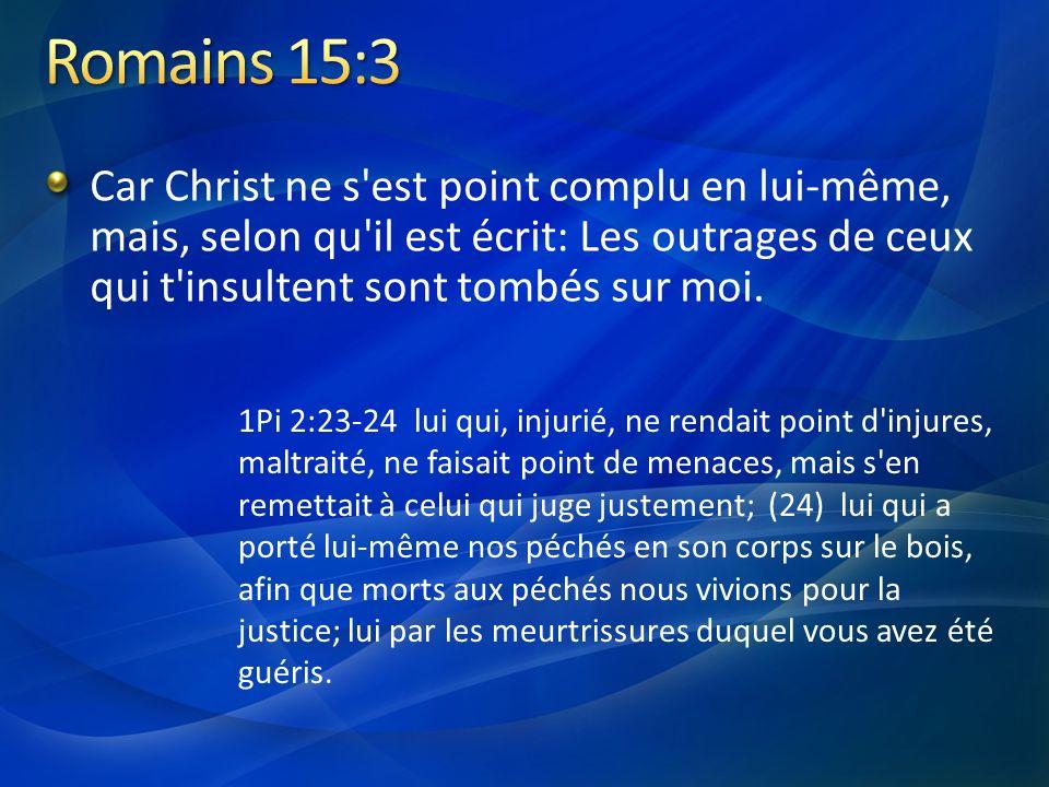 Car Christ ne s'est point complu en lui-même, mais, selon qu'il est écrit: Les outrages de ceux qui t'insultent sont tombés sur moi. 1Pi 2:23-24 lui q